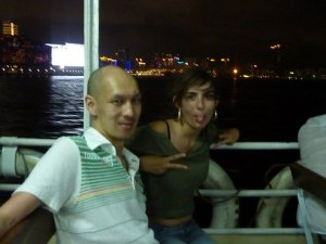 On a ferry in Hong Kong with Alan, the best friend in the world! Aug, 2010.